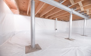 Crawl space structural support jacks installed in Saint Simons Island