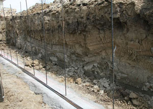 Soil layers exposed while excavating to construct a new foundation in Hinesville
