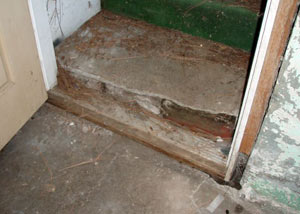 A flooded basement in Okatie where water entered through the hatchway door