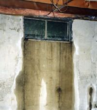 Flooding through basement windows in a Bonaire home.