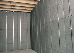 SilverGlo™ insulation and metal studs making up our Basement to Beautiful panels.  Installed in North Charleston.